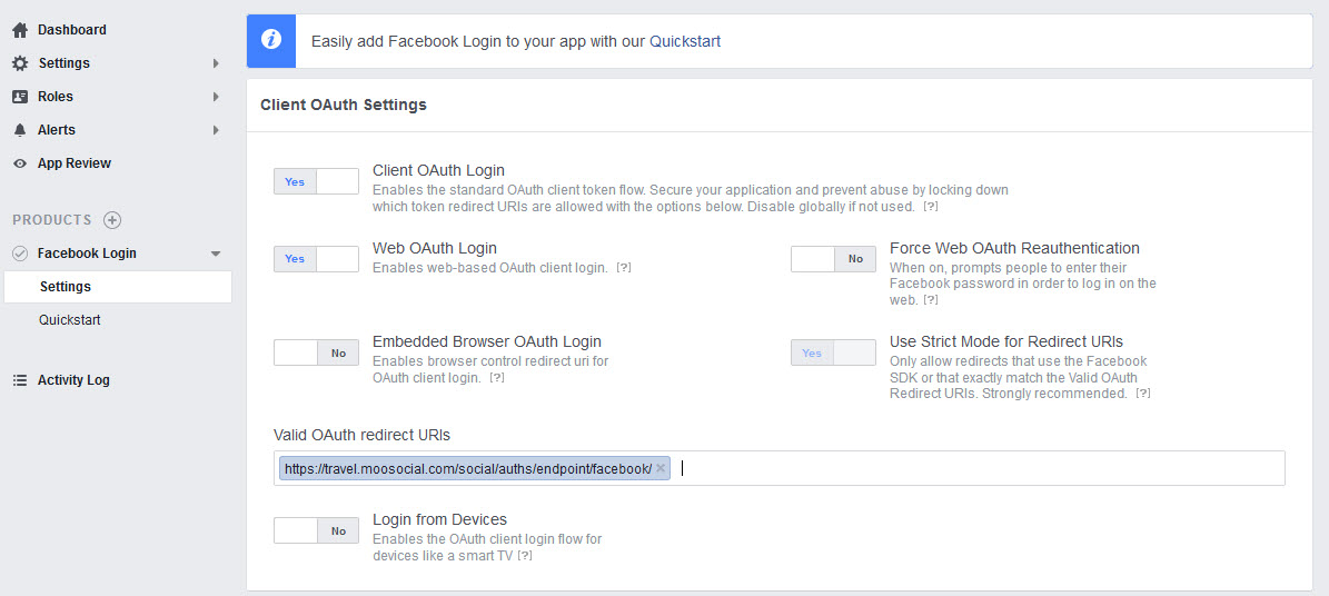 How to setup facebook login api | mooCommunity - Social