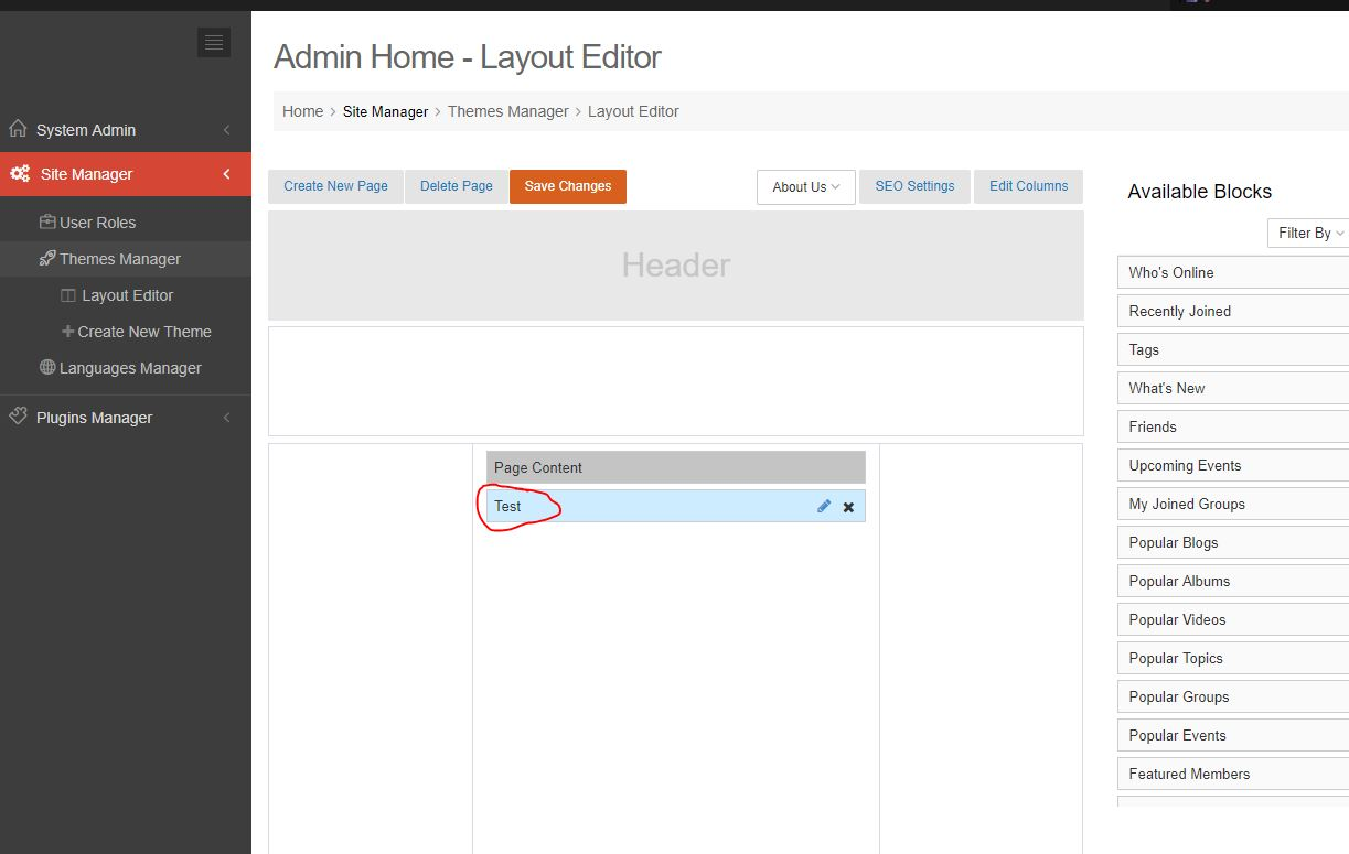 Layout Editor What\'s New title wont change | mooCommunity - Social ...